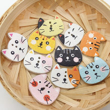 DIY Handmade Accessories Color Cat Head Painted Wood Buttons Mixed Color Diameter Party Decoration 25*20MM christmas buttons(China)