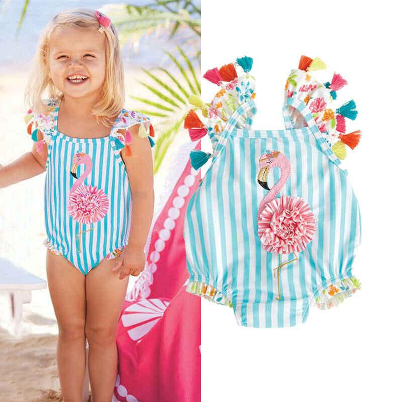Toddler Kids Baby Girls One Piece Cartoon Bikini Ruffle Swimwear Bathing Suits