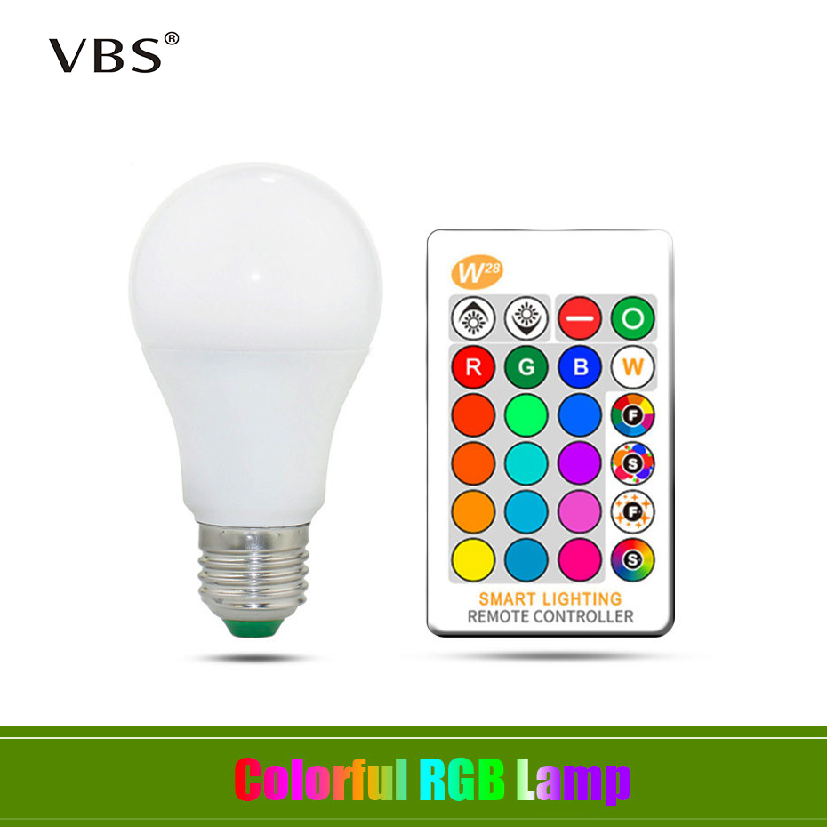 RGB Bulb Light Led-Lamp Remote-Control Changeable E27 16-Color White with