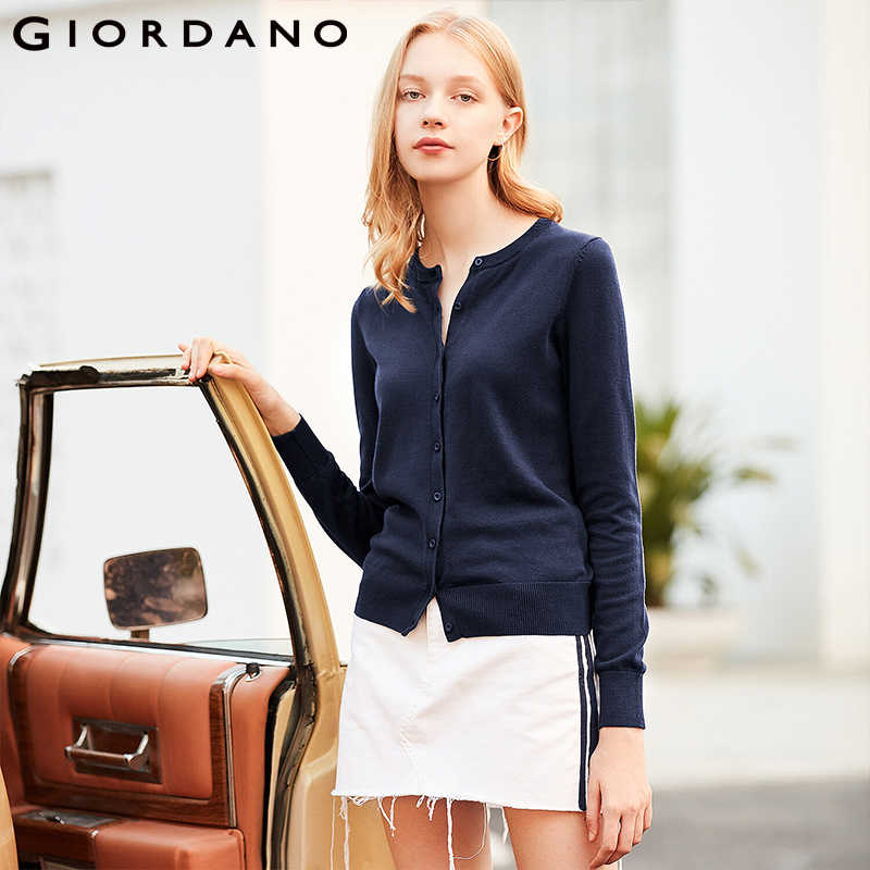 Giordano Women Cardigan Women Crewneck Combed Cotton Long-sleeve  Thin Sweater Slight Stetchy Feminino Pull Femme 05359866