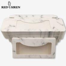 RED SIREN – boîte d'emballage de cils en papier marbre, 5 à 100 pièces, nouvelle boîte d'emballage pour cils, vente en gros