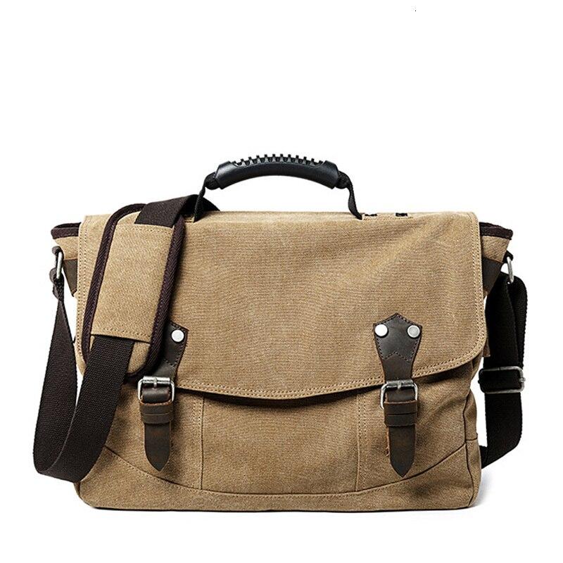 Business Bag Briefcase Men Canvas Shoulder Crossbody Bags High Quality Multi-Pocket Large Capacity Messenger Handbags