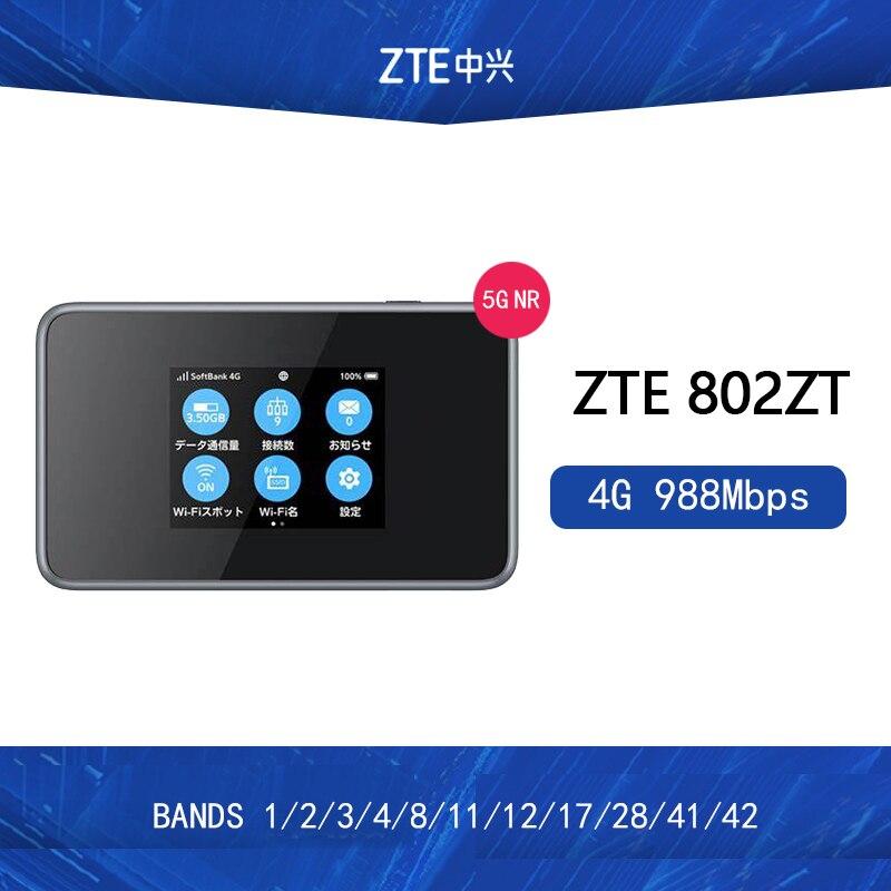 Unlocked ZTE 802ZT 4G 988Mbps LTE Mobile Wireless Hotspot 4g Bands 1/2/3/4/8/11/12/17/28/41/42 PK HUAWEI E5788 NETGEAR M1
