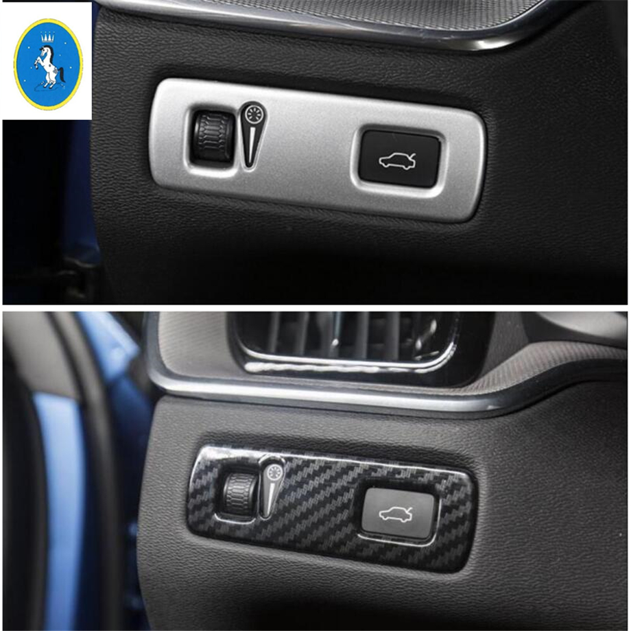 Yimaautotrims Auto Accessory Front Head Lights / Fog Lamp Switch Button Cover Trim Fit For Volvo <font><b>XC60</b></font> 2018 2019 ABS <font><b>Carbon</b></font> Fiber image