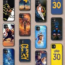 Stephen Curry Basket 30 Téléphone Housse Etui Coque Pour iphone 5 5s se 2020 6 6s 7 8 12 mini plus X XS XR 11 PRO MAX Dos noir 3D