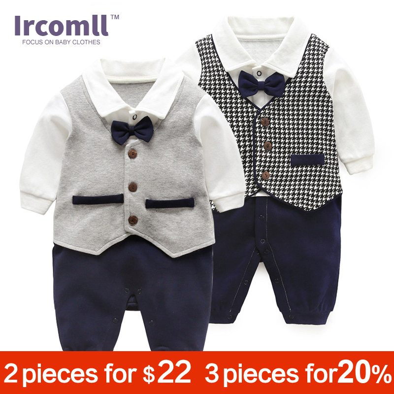 Ircomll 2018 Fashion Baby Boy Clothing Cotton Tie Bow Gentleman Infant Boys Rompers Newborn Bebe Jumpsuit Baby Bodie Outerwear in Rompers from Mother Kids