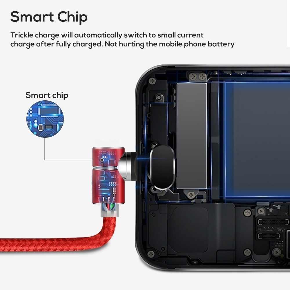 90 gradi LED Magnetico Cavo Micro usb di Tipo C 2.4A per iphone X S Cavo di Ricarica Kabel per Xiaomi Huawei samsung S10 del Caricatore del Cavo
