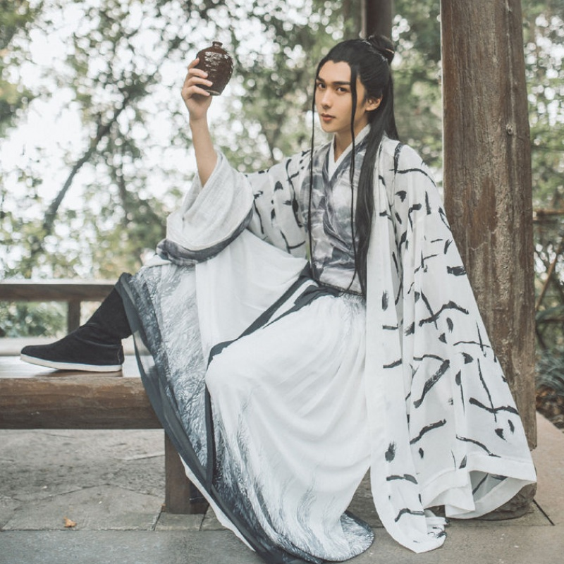 2020 Hanfu Chinese Style Hanfu Men Cosplay Black White Hanfu Ancient Chinese Costume Chinese Song Ming Dynasty Hanfu Dalam Tv