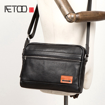AETOO Tide head layer vegetable tanned leather shoulder bag casual leather men bag pure leather crossbody bag