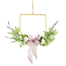 Floral Hoop Wreath Iron Art Garland Artificial Rose Flower Eucalyptus Vine Square Circle Garland Pendant Wedding Home Wall Decor()