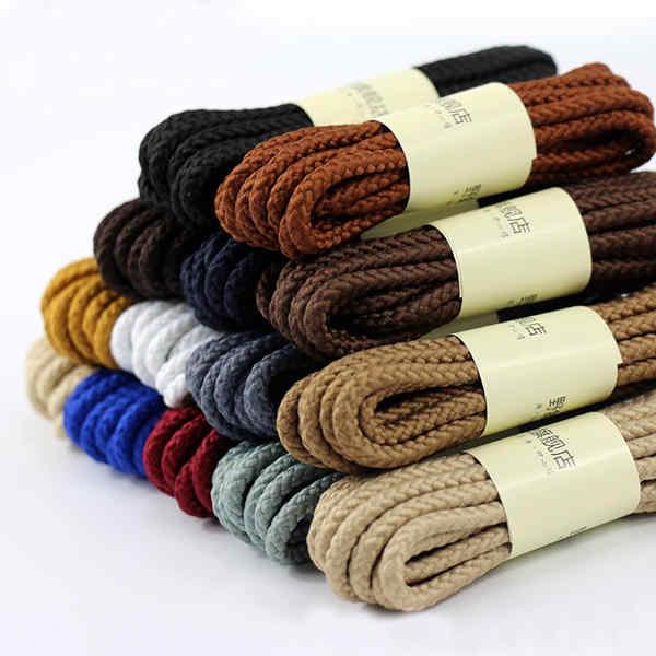 Qualität Baumwolle Schnürsenkel Wasserdicht Leder Boot Schnürsenkel Runde Form Feine Seil Weiß Schwarz Rot Blau Lila Braun Schnürsenkel