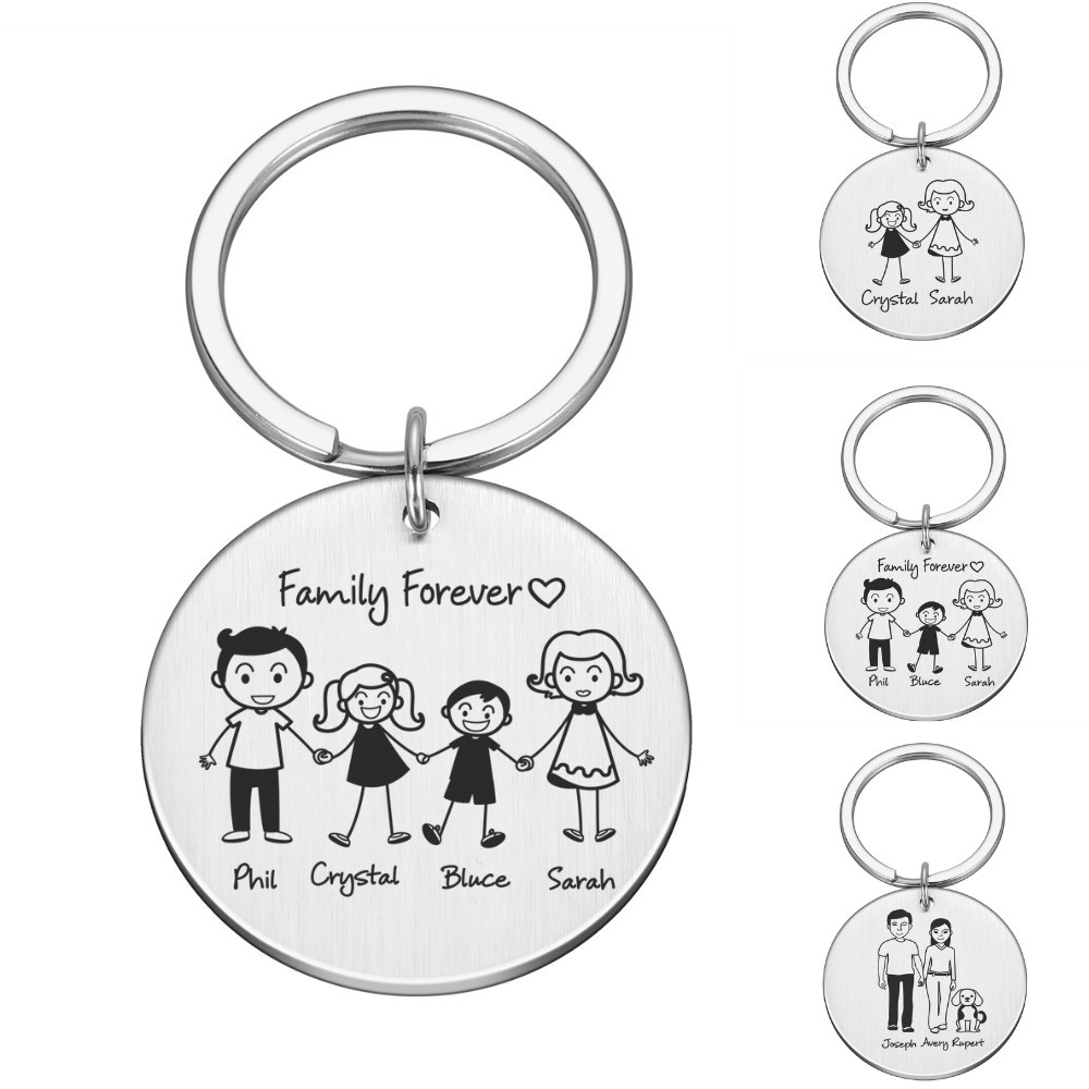 Personalized Family Gifts Keychain Custom Mom Dad Daughter Son Pet Key Chain Engraved Stainless Steel Mother Father Kids Keyring 1