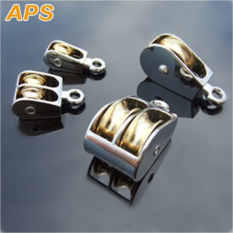 1 Pc 52mm Double Pulley Sheave Rigging Fixed Pulley Crown Block Wire Rope Doublee-sheaved Pulley Roller