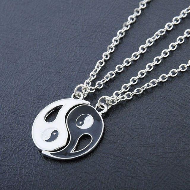2 adet/takım paslanmaz çelik Yin Yang kolye bulmaca parçası kolye doğum günü takı hediyeler çift veya en iyi arkadaşlar