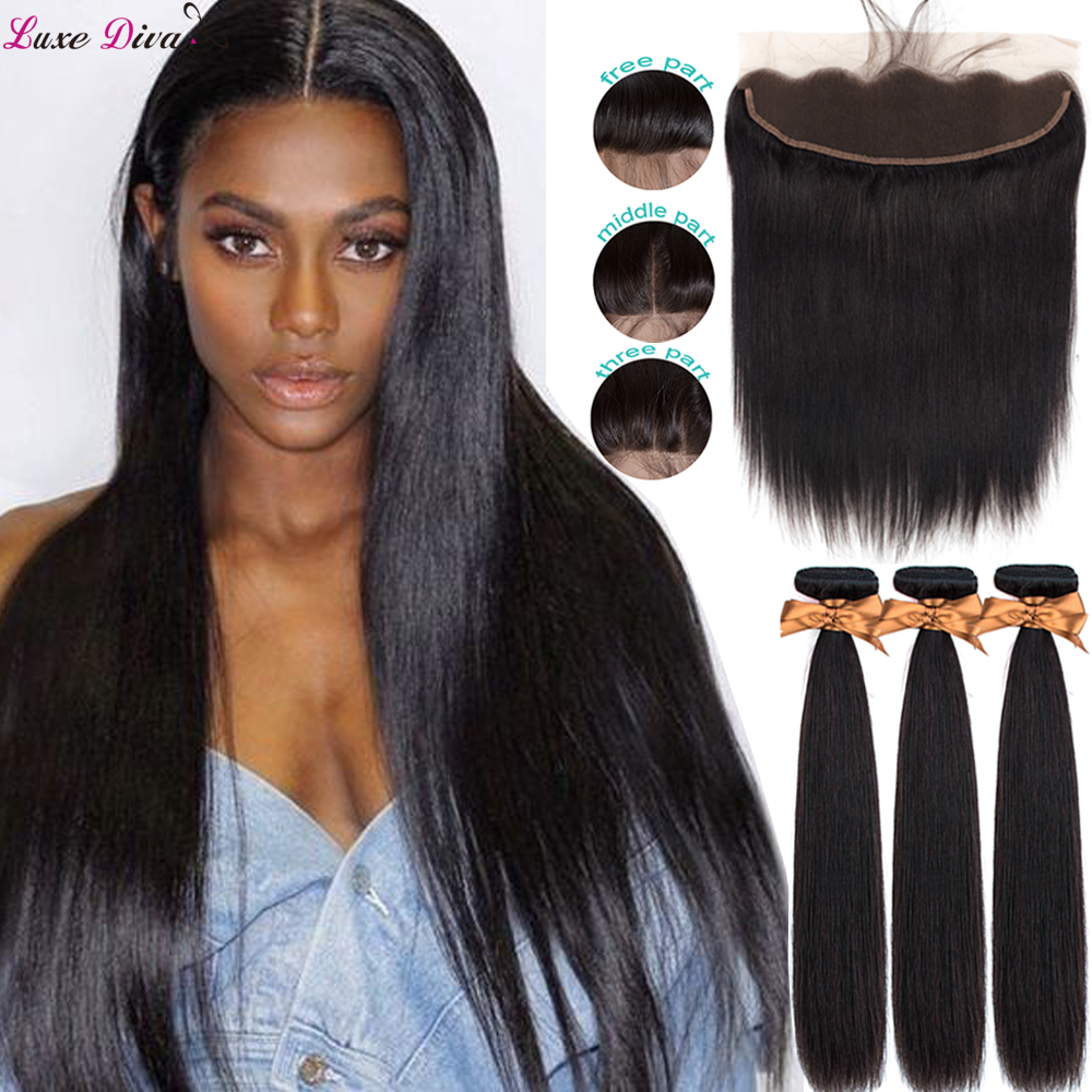 Luxediva Peruvian Straight Hair Weave Bundles With Lace Frontal Human Hair Bundles With 13*4 Frontal Closure Remy Extensions