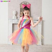 Jojo Siwa Inspired Girls Tutu Dress with Deluxe Bow Sparkly Rainbow Girls Princess Dress Kids Birthday Party Halloween Clothes