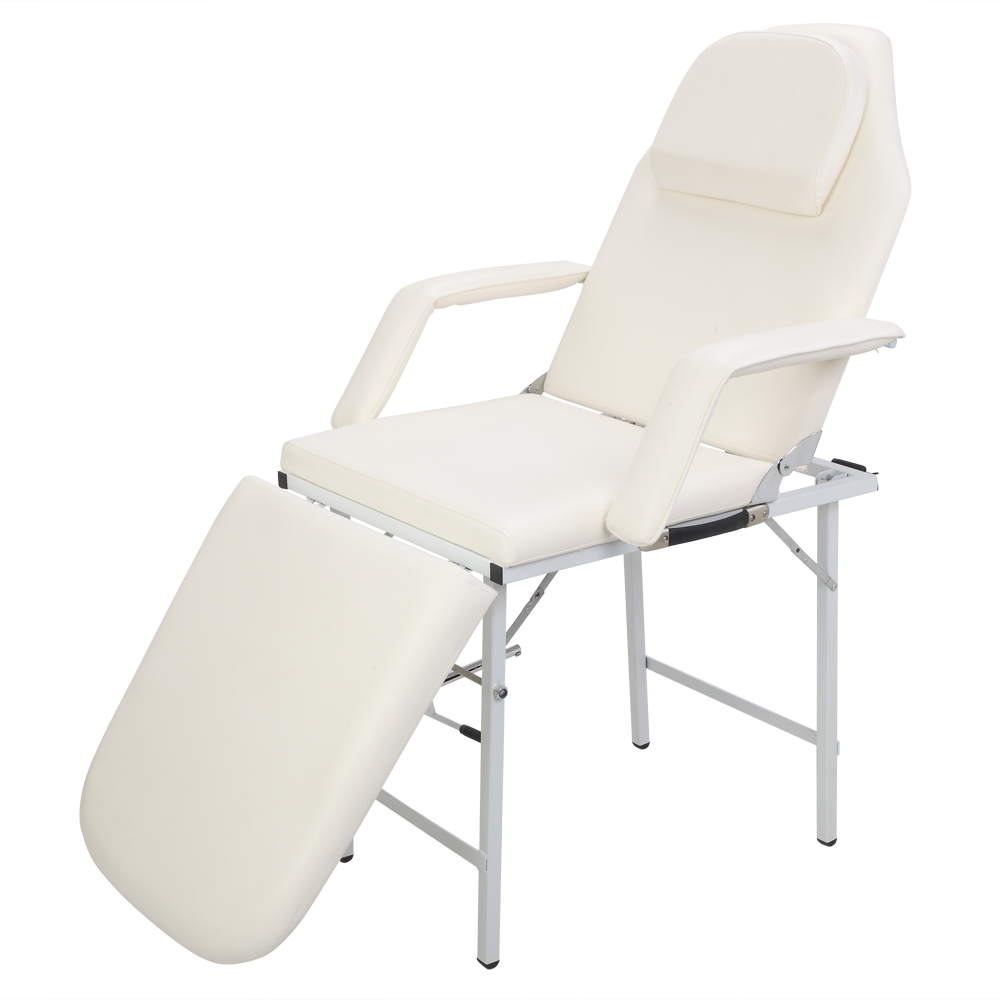 2 In1 Portable Adjustable Dual-Purpose Barber Chair Bed White For Adult 72.83x32.28x28.74 Inch E2S