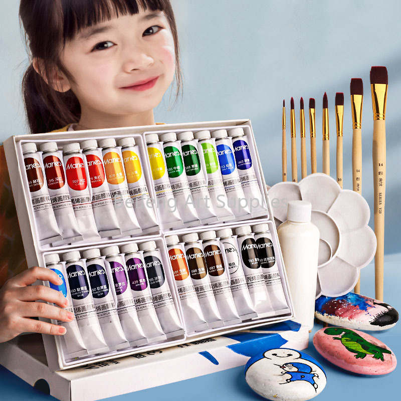 12/18/24/36Colors 12ML Tube Professional Acrylic Paint Set For Fabric Clothing Nail Glass Drawing Painting For Kids Art Supplies