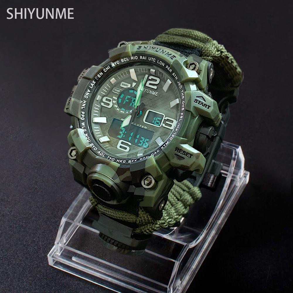 Men Camouflage Military Watch 50m Waterproof Wristwatch LED Quartz Clock Outdoor Sport Watch Compass Thermometer Emergency Watch