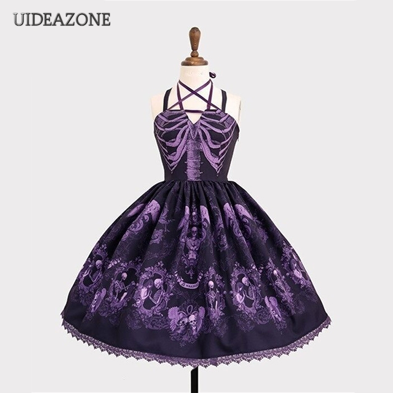Vintage Gothic Women Spaghetti Strap Dress Plus Size Embroidery Bandage Lace Patchwork England Style Strapless Goth Dresses 5XL