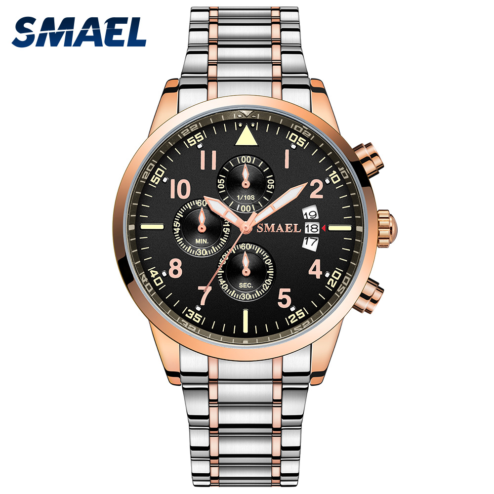 Quartz Men Watches 30M Waterproof Clock Quartz Movement Stainless Steel Band Calendar Wristwatches 9132 Fashion Men Watch 2020