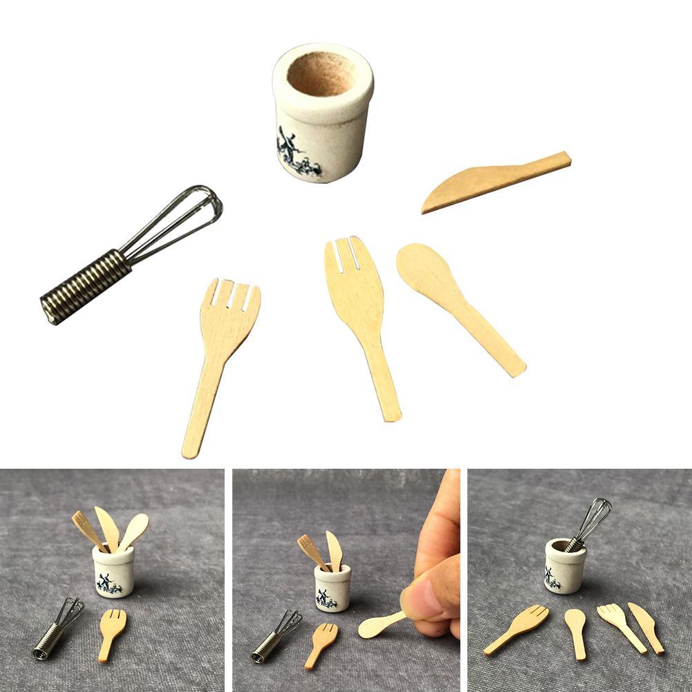 Wooden 6PCS 1:12 Dollhouse Mini Kitchen Tool Set Kitchenware Boiled Eggs Kitchen Special Pretend Tool Toy
