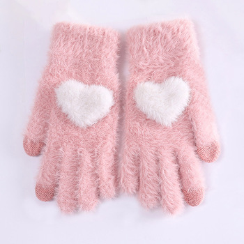 Fashionable and Knitted Touch Screen Gloves for Women Made of Soft Rabbit Wool with Pink Heart Design