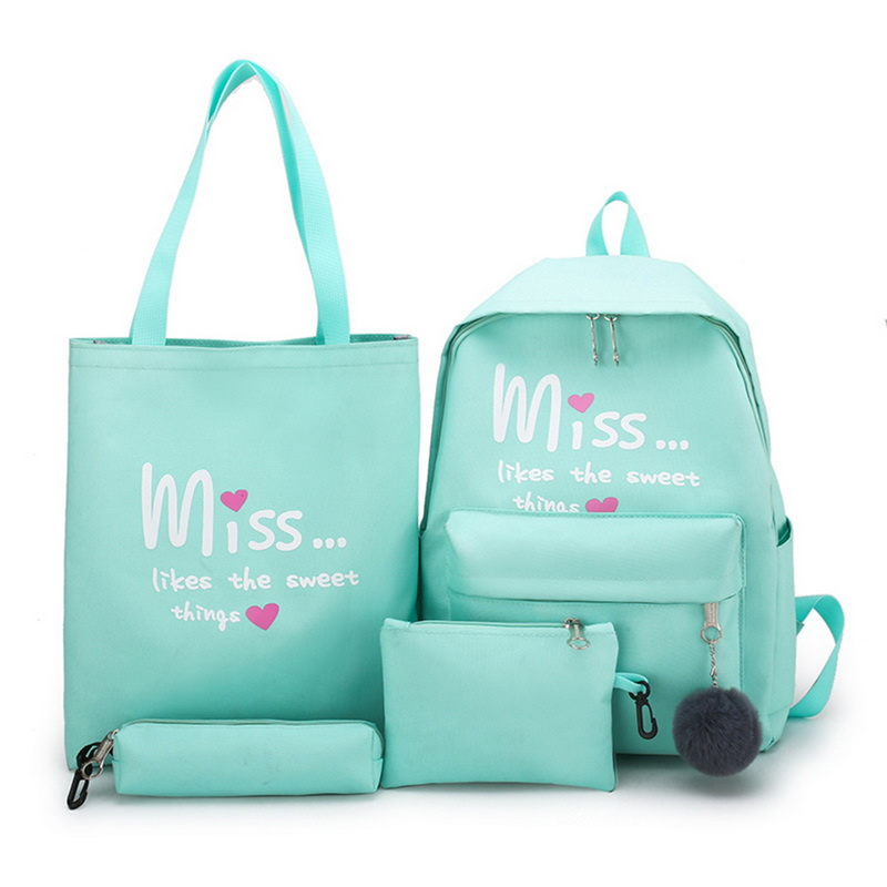 Litthing Drop Shipping 4 Pcs/set Girl School Bag For Teenager Solid Backpack College Schoolbag Women High Student Bag Backpack