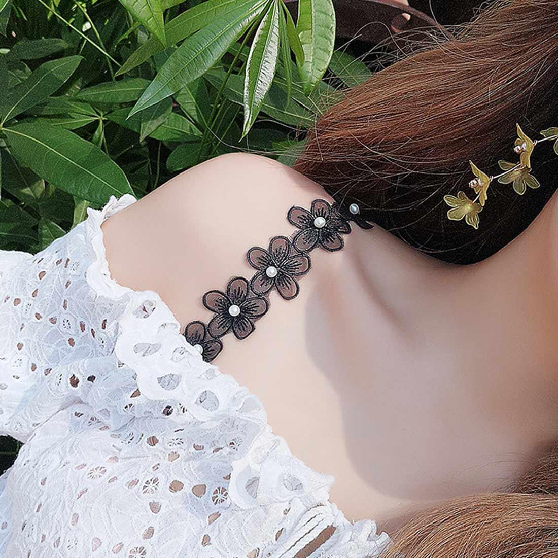 Decorative Cute Big Flower Pearl Lace Bra Straps Replacement Underwear Belt Women Intimate Bra Accessories Shoulder Straps