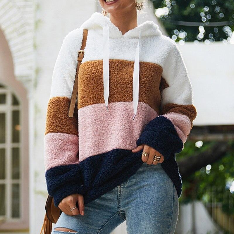 Women's Fleece Patchwork Hooded Sweatshirt Rainbow Striped Casual Warm Pullover Hoody 2020 Winter Autumn Thicken Hoodies Female 1