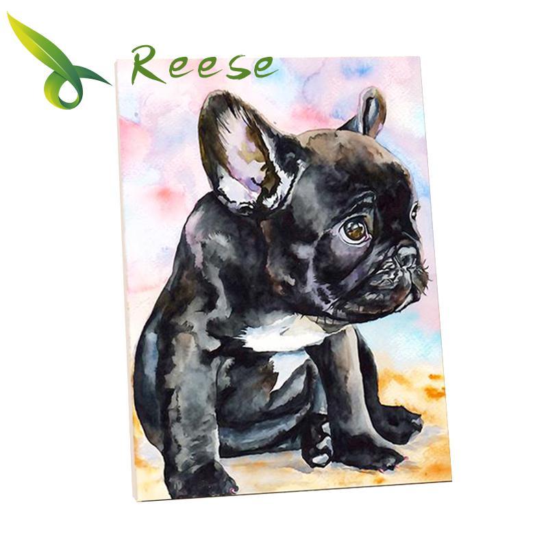Completa Pintura Diamante Diy Rodada Diamante Bordado Dos Desenhos Animados Do Cão do Buldogue Francês Mosaico de Imagem Decoração Para Casa Bom Presente Passatempo