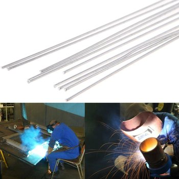 цена на 10pcs/set 2.4x330mm Metal Aluminum Magnesium Silver Electrode Welding Rod Flux Cored Wire Brazing Stick Soldering Tool Sale