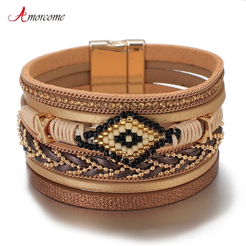 Amorcome Miyuki Evil Eye Leather Bracelets For Women Fashion Ladies Bohemian Wide Wrap Charm Bracelet Party Jewelry Gift|Charm Bracelets| - AliExpress
