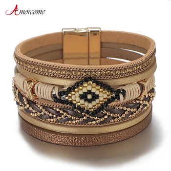 Amorcome Miyuki Evil Eye Leather Bracelets For Women Fashion Ladies Bohemian Wide Wrap Charm Bracelet Party Jewelry Gift amorcome metal feather genuine leather bracelet for women jewelry fashion multilayer bohemian charm wide bracelets