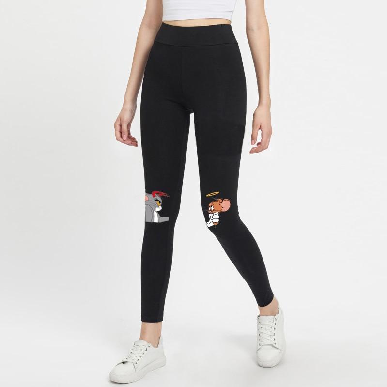 2019 Cartoon Print Pants Women Winter Fitness Leggings Workout Sports Running Leggings Sexy Push Up Gym Wear Cat And  Pants