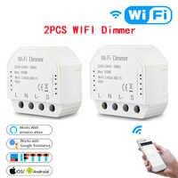 2pc DIY Smart WiFi Light LED Dimmer Switch Smart Life/Tuya APP Remote Control 1/2 Way Switch, Works with Alexa Echo Google Home