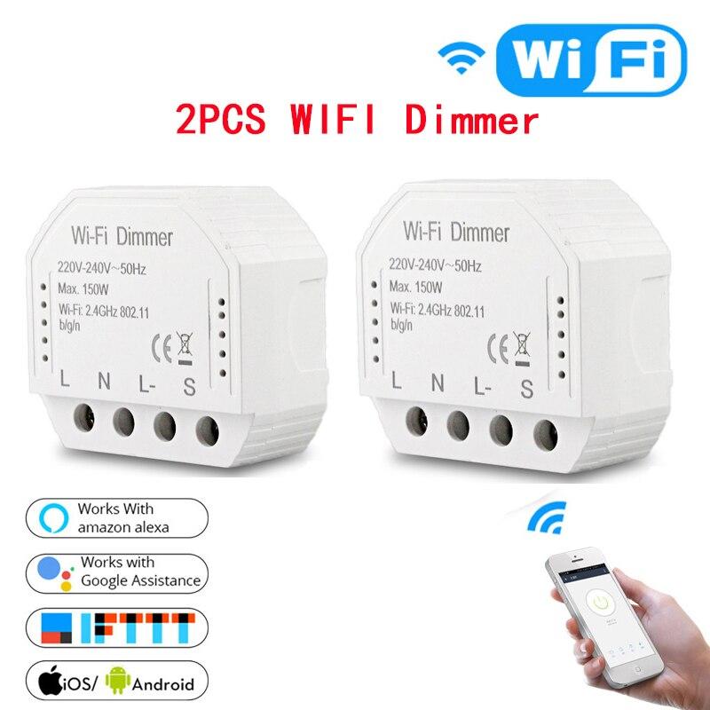 2pc diy inteligente wifi luz led dimmer interruptor vida inteligente/tuya app controle remoto 1/2 maneira interruptor, funciona com alexa eco google casa