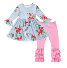 купить Persnickety Fashion Boutique Girls Clothing Fall Print Dress Long Sleeve Top Pink Triple Ruffle Pants Baby Outfit Clothes по цене 780.92 рублей
