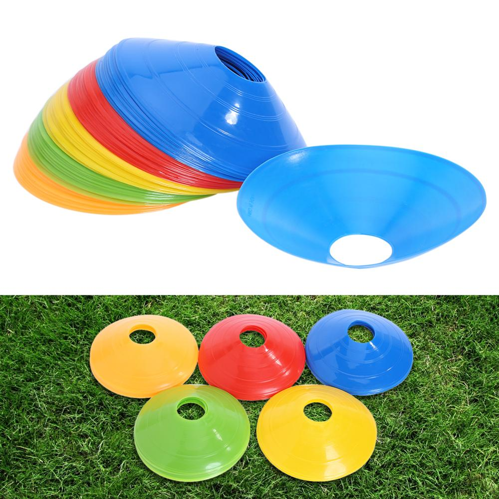 50pcs 5*20CM Soccer Training Sign Dish Pressure Resistant Cones Marker Discs Marker Bucket PVC Sports Football Accessories