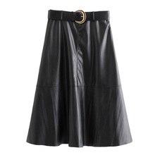 Women Chic Pu Leather Kirt Belt Design Side Zipper Casual Basic Fashion Mid Calf Skirts FFZBQ96 stylish women s satchel with pu leather and zipper design