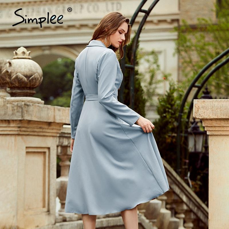 Simplee Casual suit collar autumn women dress Long sleeve office lady asymmetrical long dress Slim with belt A-line female dress 4