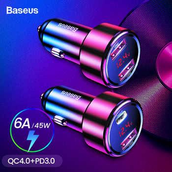 Chargeur rapide de voiture USB Baseus 45W 4.0 3.0 pour iPhone Xiao mi Huawei QC4.0 QC3.0 QC PD 6A chargeur rapide de téléphone de voiture