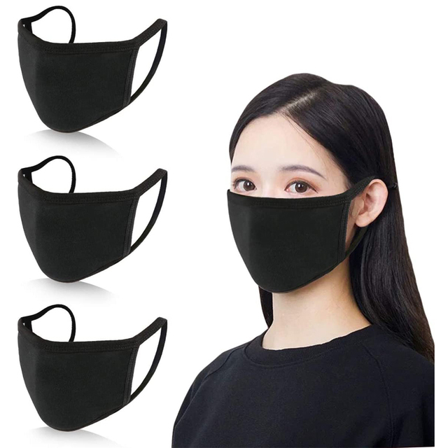 Scione Mouth Mask Black Cotton Mouth Face Masks  Anti Dust Mask Activated Carb Anti Pollution