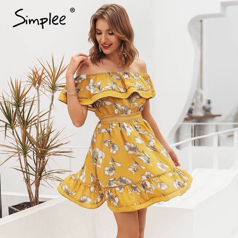 Simplee Summer boho print ruffle short dress Women off shoulder hollow out pleated dress Sexy beach floral midi dress vestidos