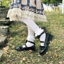Туфли женские кожаные с оборками и куклой, в японском стиле