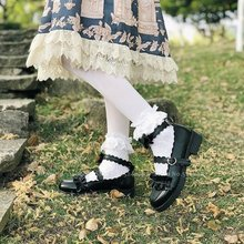 Girls Lolita Kawaii Doll Ruffle School Single Leather Shoes Women Japanese Style JK Academy Princess Anime Party Cosplay Coatume