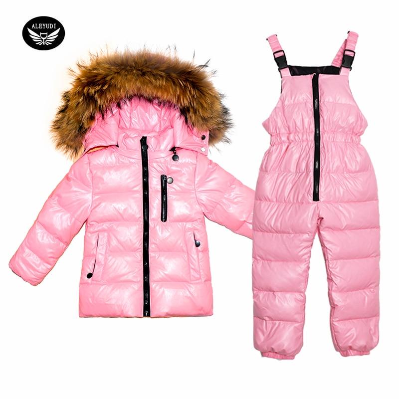 Costume d'hiver pour enfants doudoune filles blanc canard vers le bas manteaux et bavoir pantalon costume épais deux pièces vêtements imperméable