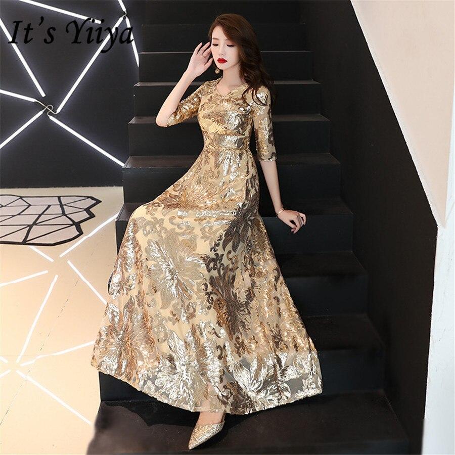 It's Yiiya Evening Dresses Long Half Sleeve Gold Sequins Formal Dress For Girls O-neck Plus Size Robe De Soiree 2020 E1402