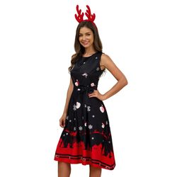 Plus Size Woman Vintage Dress Santa Christmas Retro Xmas Printed O-Neck Sleeveless Swing Dress Sexy Women Clothing Hot 3