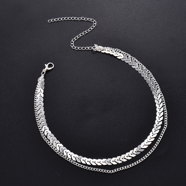 Fashion Women Lady Elegant V Sequins Chain Necklace Bib Party Double Layer Necklace Jewelry Choker Necklace 2